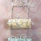 33588 Distressed White Wrought Iron Towel Rack