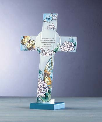 33604 Frosted Glass Cross Votive Holder