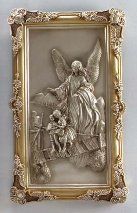 33756 Silver Finish Guardian Angel Wall Plaque
