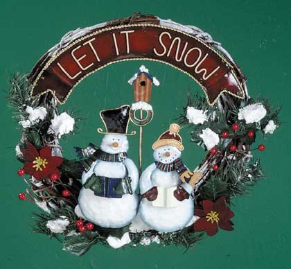 33855 Wood and Metal Snowman Wreath