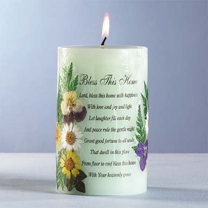 34040 Bless This Home Candle with Dried Flowers