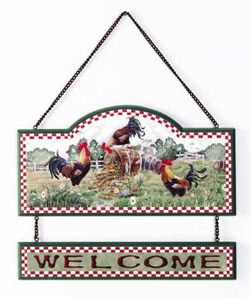 34105 Wood Rooster Welcome Sign