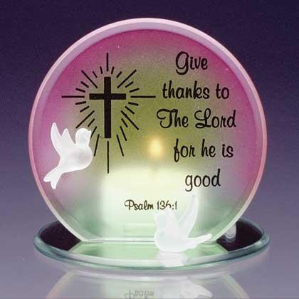 34124 Glass Psalm 136 1 Candleholder