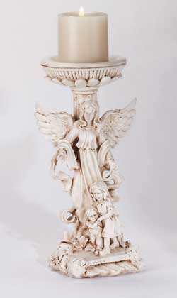 34172 Ivory Finish Guardian Angel Candle Holder