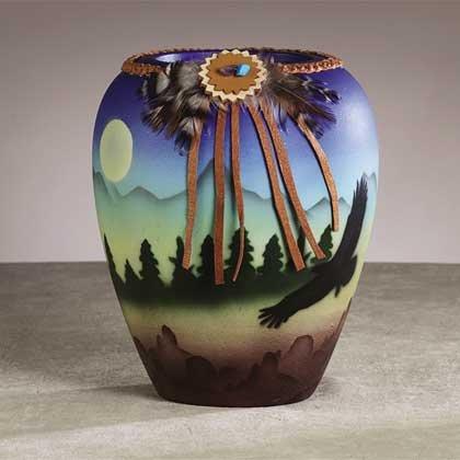 34236 Ceramic Southwest Eagle Vase