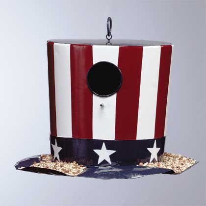 34250 Metal Stars and Stripes Hat Birdhouse