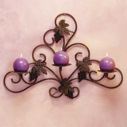 34276 Metal and Grapes Wall Candle Holder