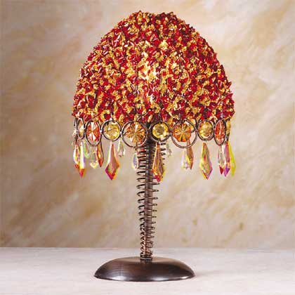 34324 Orange and Red Beaded Lamp