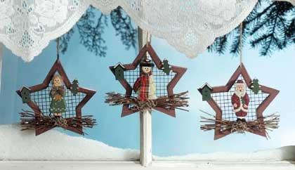 34371 Wood Star Xmas Ornaments