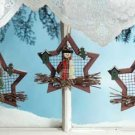 34371 Wood Star Xmas Ornaments