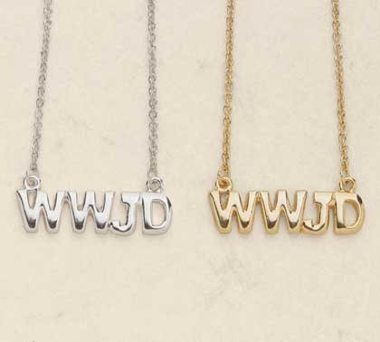 34515 1 DZ Gold Plated WWJD Necklaces (Retail - 2.99ea)