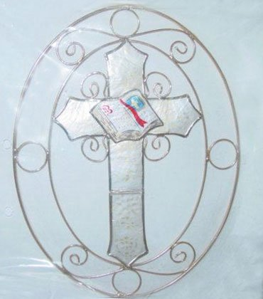 34520 Capiz Shell Cross Suncatcher