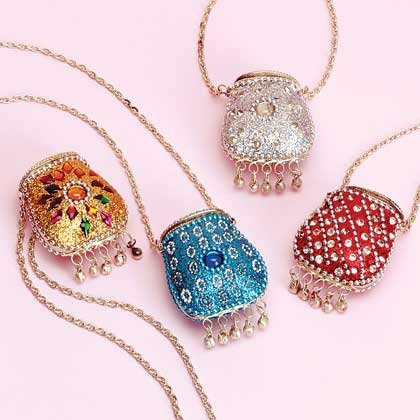 34550 4 Pack of Bead and Rhinestone Purse Pendants (Retail - 7.95ea)