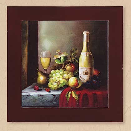 34565 Wine And Fruit Wall Plaque