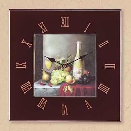 34566 Wine and Grapes Wall Clock