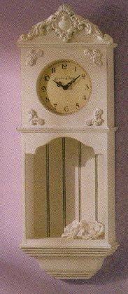 34664 La Cote D Azur Wood Wall Clock and Shelf