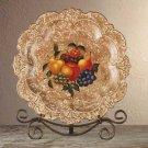 34665 Porcelain Antique-Finish Fruit Design Plate