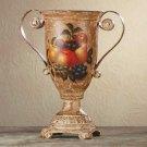 34666 Porcelain Antique-Finish Fruit Design Urn