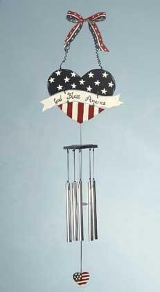 34670 Heart Shape Americana Wind Chime