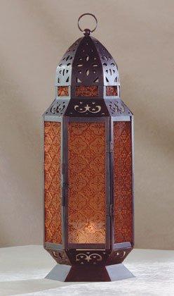 34691 Moroccan Design Amber Glass Candle Lantern