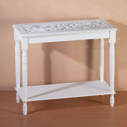 34709 Distressed White Wood Carved Table