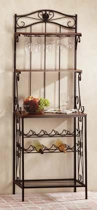 34775 Wood Metal Wine Rack Shelf
