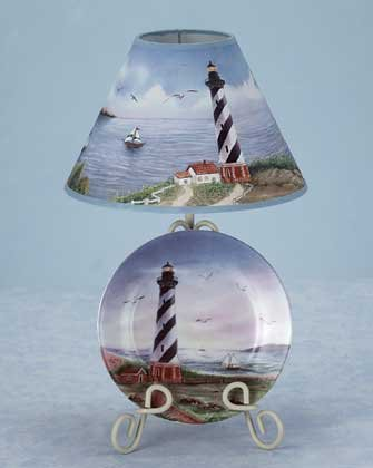 34831 Lighthouse Lamp and Plate Set