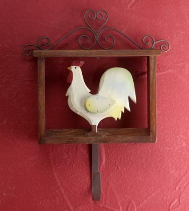 35113 Folk Art Rooster With Hook