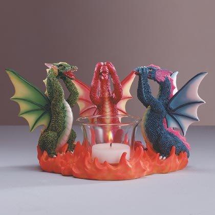 35184 See, Hear, Speak, Dragon Candle Holder