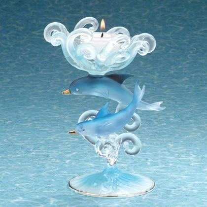 35255 Blue Dolphins Glass Candle Holder