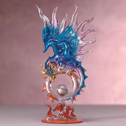 35256 Blue Glass Dragon On Flaming Hoop
