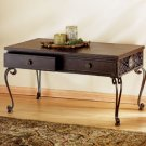 35334 Wood and Wrought Iron Occassional Table