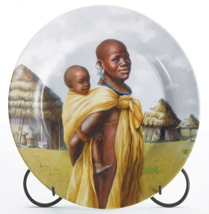 35375 Mother & Child Plate with Metal Stand