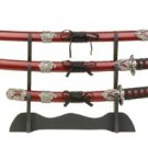 35652 Samurai Swords with Wood Stand Set