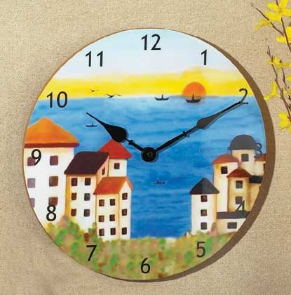 35667 Patchwork Fabric Coast Clock