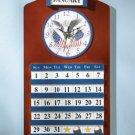35749 Wood Eagle & Flag Clock & Calendar