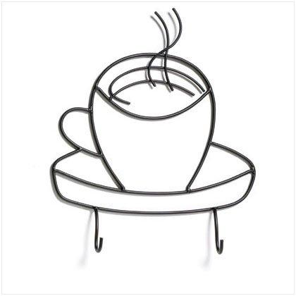 36663 Coffee Cup Metal Hooks Plaque