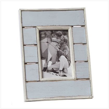 36666 Distress Blue White Photo Frame