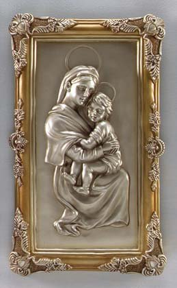 33755 Silver Finish Madonna and Child Wall Plaque