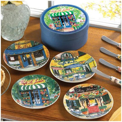 35804 4PC. FRENCH CAFE CANAPE PLATES