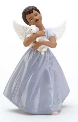 33925 Porcelain Angel Holding Lamb