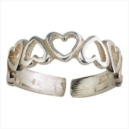 36918 Silver Hearts Band Toe Ring