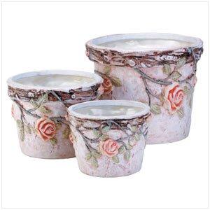 34067 Nesting Ceramic Planters with Roses