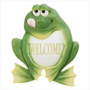 33933 Frog Welcome Plaque