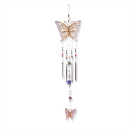 33155 Painted Metal Butterfly Wind Chime