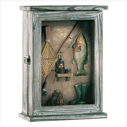 33175 Wood Fishing Shadowbox Keyholder