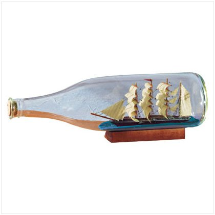 27019 Tall Ship In Bottle With American Flag