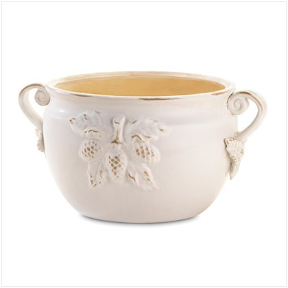 37045 White Porcelain Bowl Planter