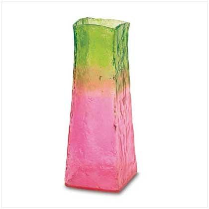 37742 Pink and Sage Fiberglass Vase