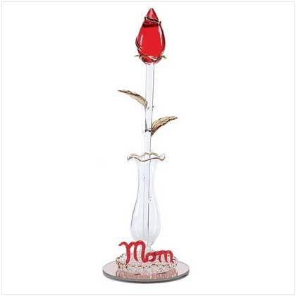 "28205 ""Mom"" Sculptured Glass Rose"